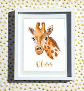 Hand Drawn Personalised Giraffe Print