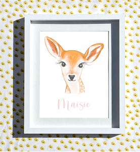 Hand Drawn Personalised Fawn Print