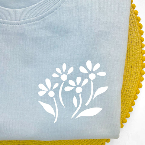 Floral Sky Blue Sweatshirt Top