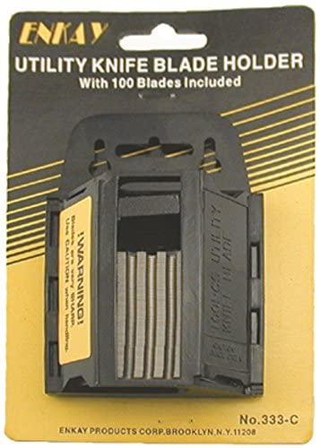 100pc Utility Knife Blades with Holder