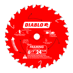 6‑1/2 in. x 24‑Tooth Tracking Point Framing Saw Blade #D0624A