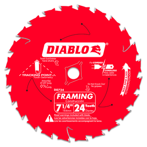 7‑1/4 in. x 24 Tooth Framing Saw Blade #D0724A