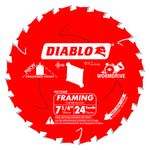 7‑1/4 in. x 24 Tooth Wormdrive Framing Saw Blade #D0724W