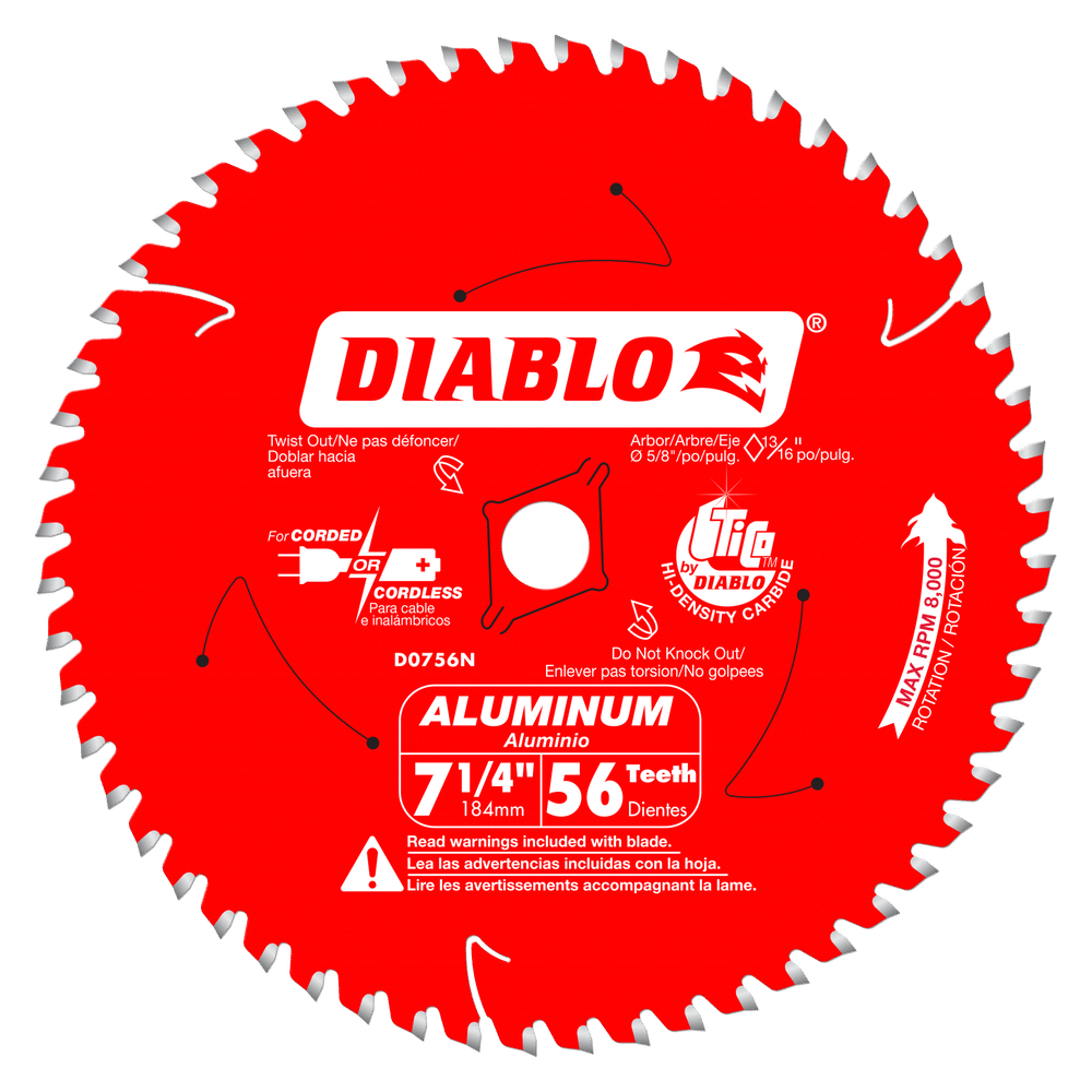 7‑1/4 in. x 56 Tooth Thick Aluminum Cutting Saw Blade #D0756N