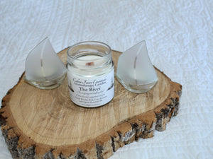 The River 6 oz Coco-Beeswax, Wooden Wick, Aromatherapy Candle