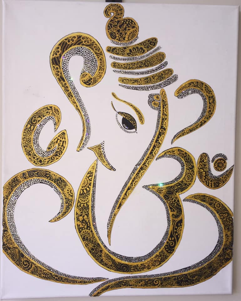 GANESH OHM GOLD CANVAS 20 X 16