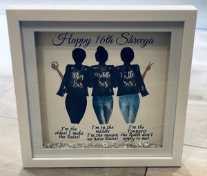 SISTERS SHADOW BOX FRAM WITH CRYSTALS