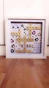 PERSONALISED BIRTHDAY SCRABBLE FRAME WITH DIMANTE