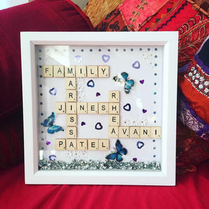 FAMILY PERSONALISED SCRABBLE FRAME WITH MESSAGE