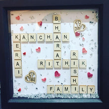 Load image into Gallery viewer, FAMILY PERSONALISED SCRABBLE FRAME WITH MESSAGE