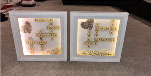 FAMILY SCRABBLE FRAME MESSAGE WITH GLITTER HEART AND and DIMANTES
