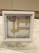 Load image into Gallery viewer, FAMILY SCRABBLE FRAME MESSAGE WITH GLITTER HEART AND and DIMANTES