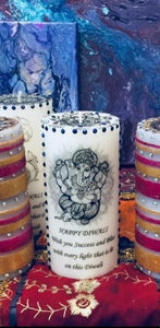 DIWALI CANDLE WITH DIAMANTES GOD OR GODDESS