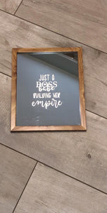 "BOSS BABE Building Her Empire"" WOODEN CUSTOMISED ETCHED MIRROR"