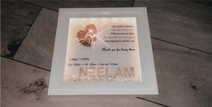 PERSONALISED BIRTHDAY FRAME WITH GLITTER HEARTS CRYSTALS