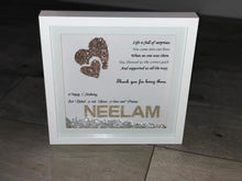 Load image into Gallery viewer, PERSONALISED BIRTHDAY FRAME WITH GLITTER HEARTS CRYSTALS