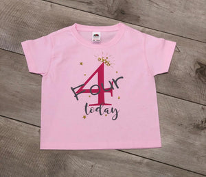 PERSONALISED CHILDREN / GIRLS TIARA AGE BIRTHDAY T-SHIRT AGE 7-13 YEARS