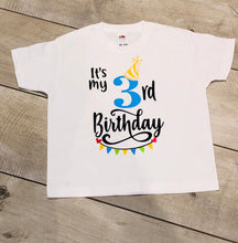 "Load image into Gallery viewer, PERSONALISED BOYS AGE CHILDREN'S BIRTHDAY T-SHIRT ""AGE 2-6 YEARS"""