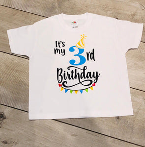 "PERSONALISED BOYS AGE CHILDREN'S BIRTHDAY T-SHIRT ""AGE 2-6 YEARS"""