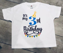 "Load image into Gallery viewer, PERSONALISED BOYS AGE CHILDREN'S BIRTHDAY T-SHIRT ""AGE 7-13 YEARS"""