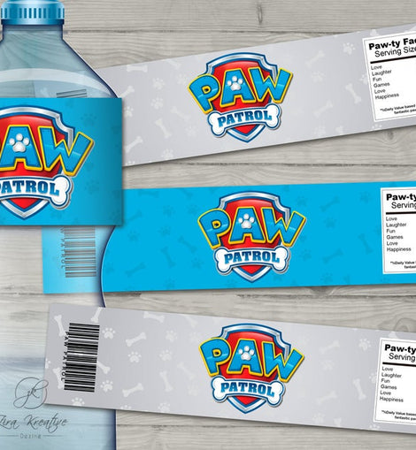Paw Patrol Inspired It/'s a Paw-Ty for Personalized Water Bottle labels Digital File
