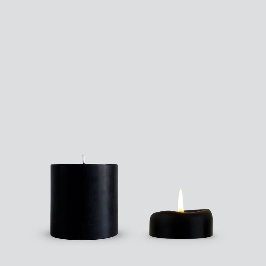 Pillar Candle - Smooth Black Small