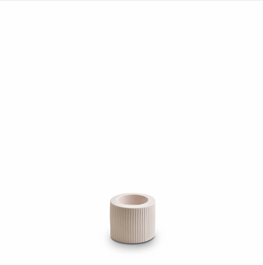 Ribbed Infinity Candle Holder - Pink Nude