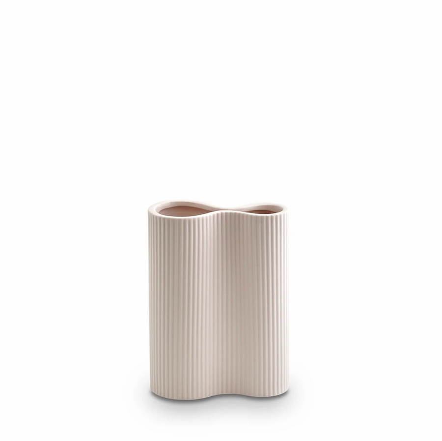 Ribbed Infinity Vase - Nude Pink