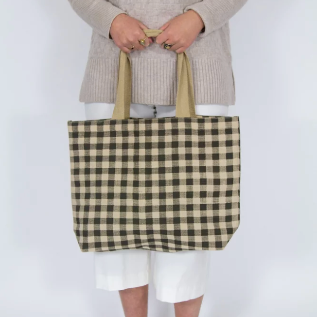 Gingham Tote - Army
