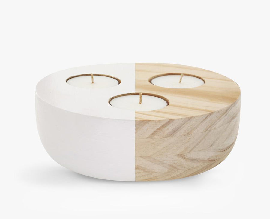 Large Wooden Bowl Candle Holder - Ivory
