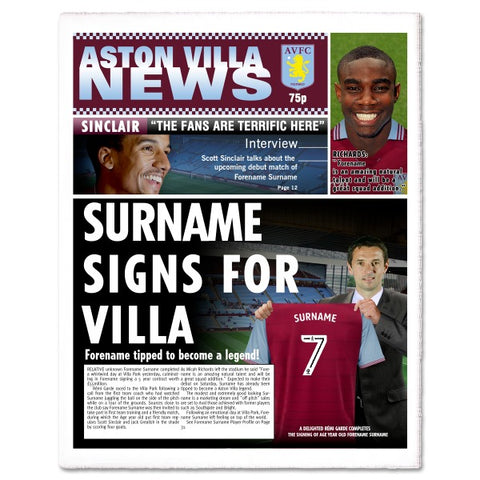 Aston Villa FC News Single Page Print