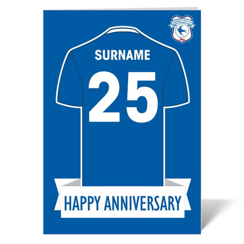 Cardiff City FC Shirt Anniversary Card