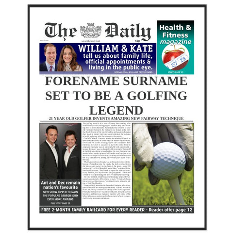 The Daily Golf Legend News Single Page Print - Male
