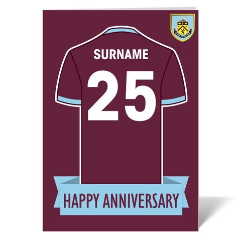 Burnley FC Shirt Anniversary Card