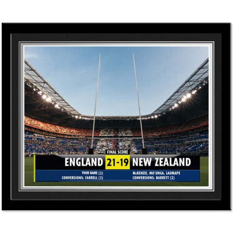 Personalised Rugby Score Photo Framed
