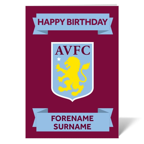 Aston Villa FC Crest Birthday Card