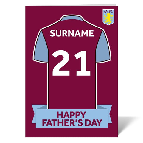 Aston Villa FC Shirt Father's Day Card