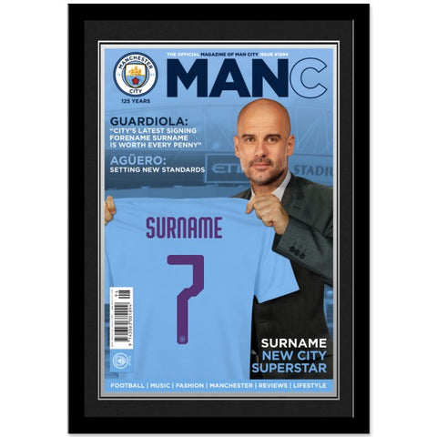 Manchester City FC Magazine Front Cover Photo Framed