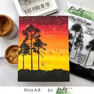Quick WaterColor Trees And Bushes Sunset Card with Erica