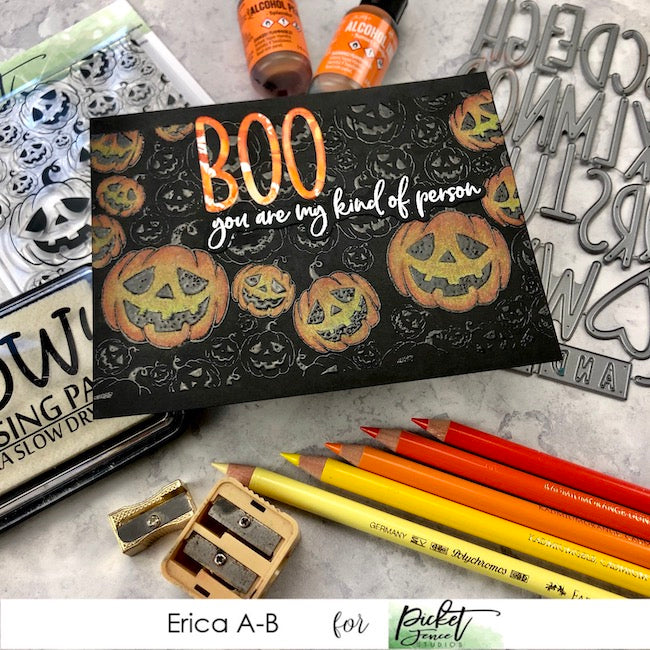 Jack O Lantern Coloured Pencils Card with Erica