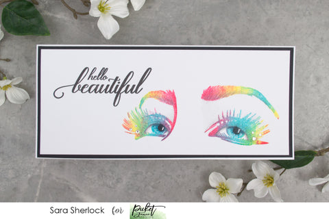 Rainbow Stamped Card, featuring the new stamp set Life Happens, Lashes Help from Picket Fence Studios.