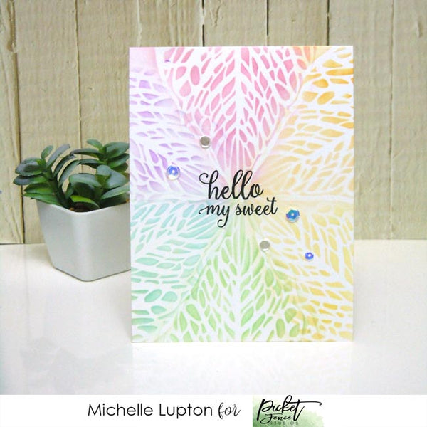 Rainbow hello card with slimline leaf stencil