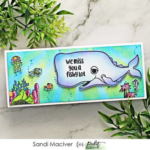 handmade slimline card created with cardmaking products from Picket Fence studios