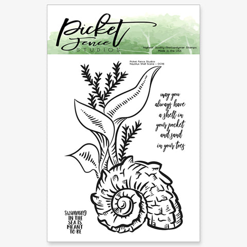 Nautilus Shell Scene Stamp Set with Coordinating Die