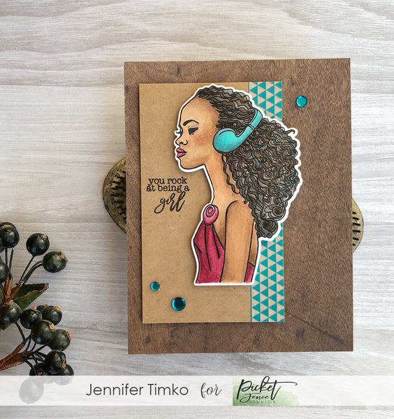 Kiesha Rocks by Jen Timko | Keisha Stamp Set by Picket Fence Studios,#girlboss Louise Stamp Set by Picket Fence Studios, Copic Skin Tones
