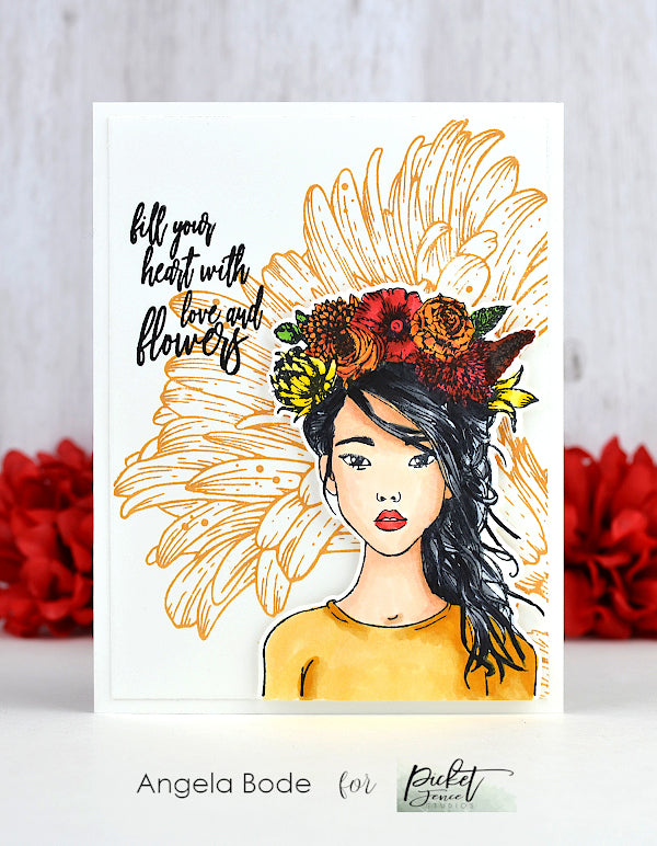 Picket Fence Eiko Girl Rubber Stamp