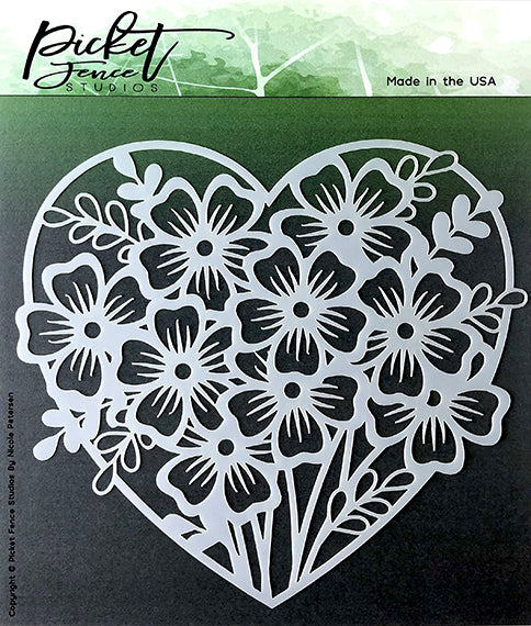 Heart Of Flowers Stencil