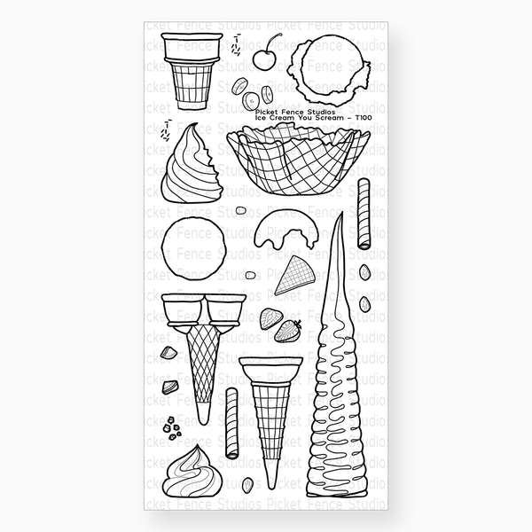 Ice Cream You Scream Stamp with Coordinating Die
