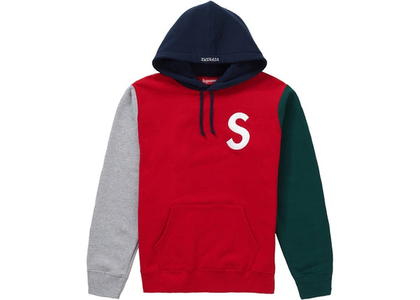 Supreme FW18 S Logo Colorblocked Hooded Sweatshirt