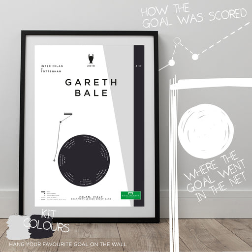 Football art poster illustrating Gareth Bale's superb solo goal for Tottenham in the 2010 Champions League against Inter Milan. The perfect gift idea for any Tottenham football fan.